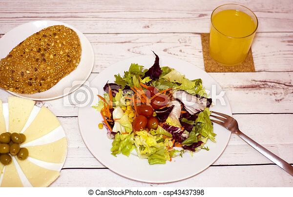 Healthy food on a white wooden table - csp43437398