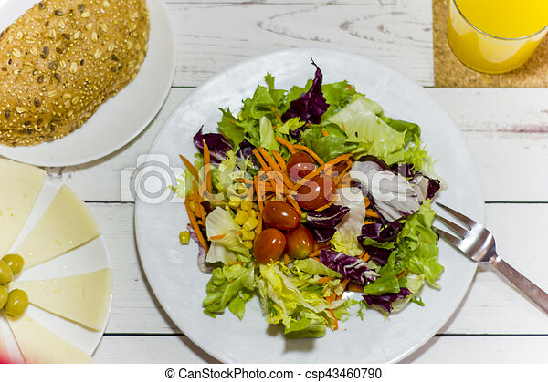 Healthy food on a white wooden table - csp43460790