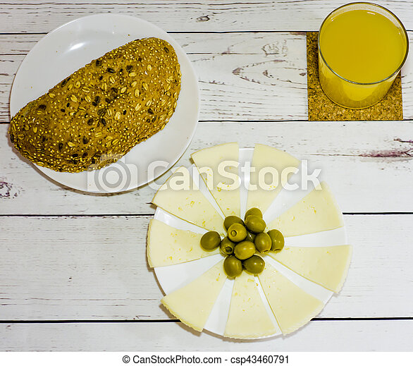 Healthy food on a white wooden table - csp43460791