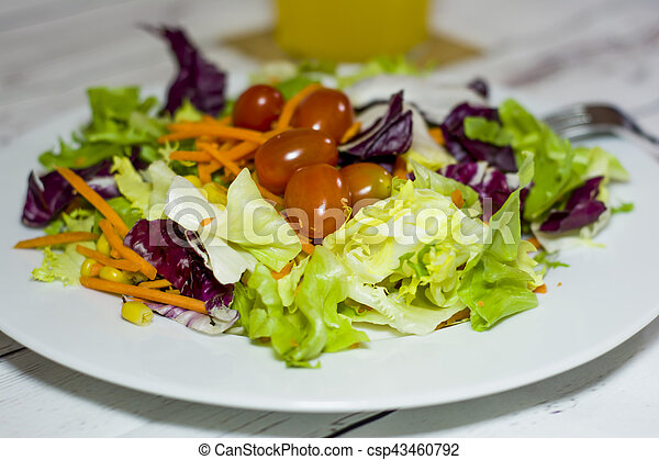Healthy food on a white wooden table - csp43460792