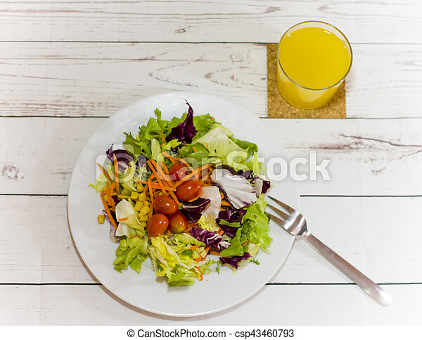 Healthy food on a white wooden table - csp43460793