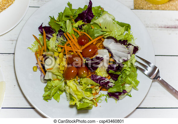 Healthy food on a white wooden table - csp43460801