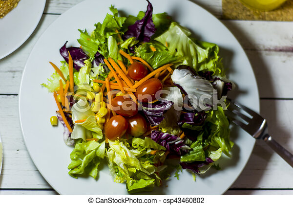 Healthy food on a white wooden table - csp43460802