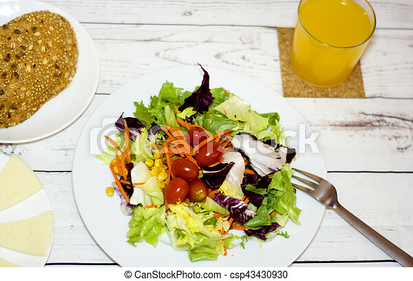 Healthy food on a white wooden table - csp43430930