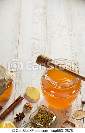 healthy food on wooden table - csp55312878