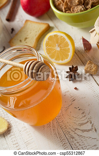 healthy food on wooden table - csp55312867