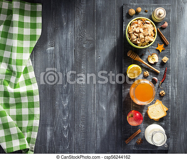 healthy food on wooden table - csp56244162