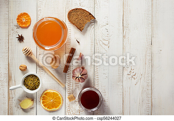 healthy food on wooden table - csp56244027