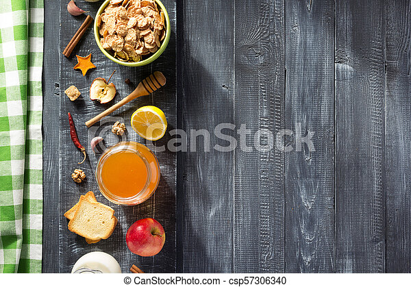 healthy food on wooden table - csp57306340
