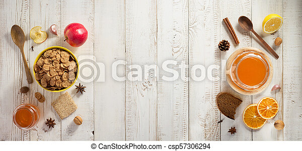 healthy food on wooden table - csp57306294