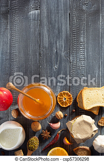 healthy food on wooden table - csp57306298