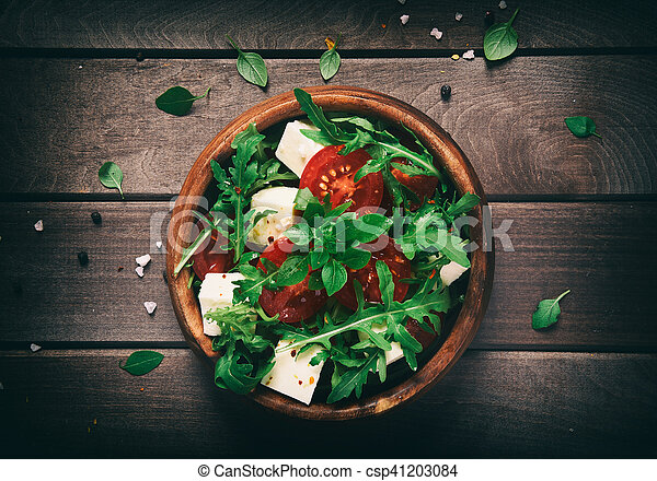 healthy food. Vegetable salad on a wooden table. - csp41203084