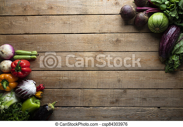 Healthy food, vegetables on a wooden table - csp84303976