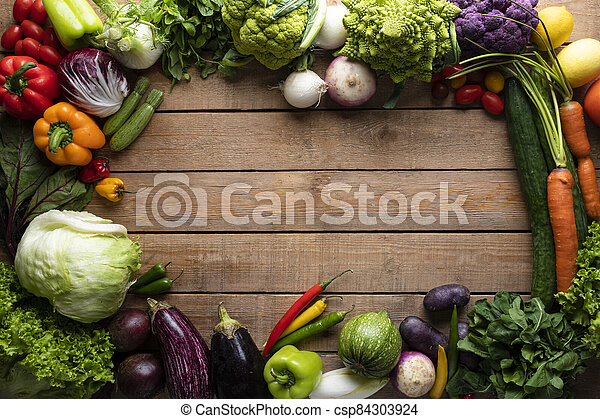 Healthy food, vegetables on a wooden table - csp84303924