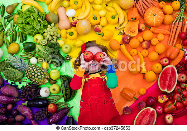 healthy fruit and vegetable nutrition for kids little girl with
