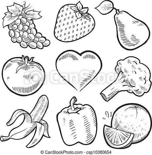 Healthy fruit and vegetables sketch - csp10380654