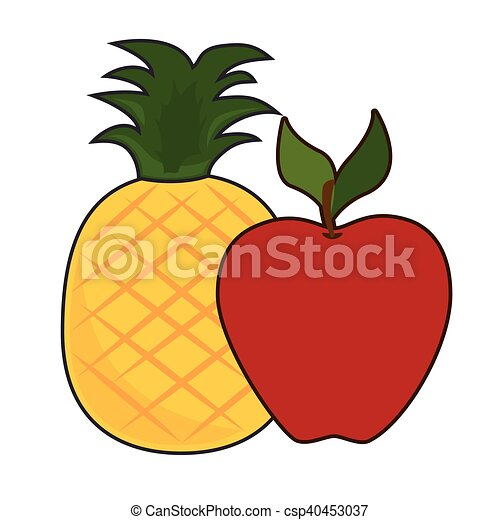 healthy fruits food red apple and pineapple healthy fruit rh canstockphoto com fruit splash vectors fruit vectors free download