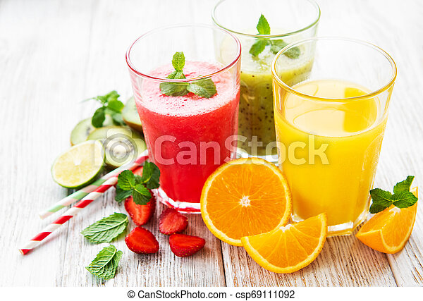 Healthy fruits smoothies - csp69111092