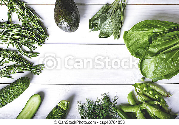 Healthy green circle on the wooden table - csp48784858