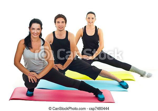 Healthy group of people doing fitness exercises - csp7480444