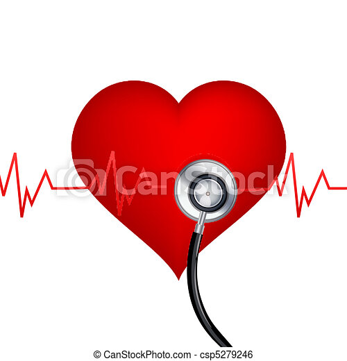 illustration of healthy heart with stethoscope on white clip art rh canstockphoto com