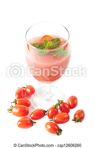 Healthy juice for good health, tomato juice in glass - csp12606260
