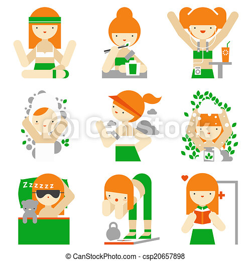 Healthy lifestyle and wellness flat icons - csp20657898
