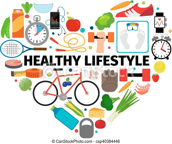 healthy lifestyle heart emblem health healthy food and eps rh canstockphoto ie