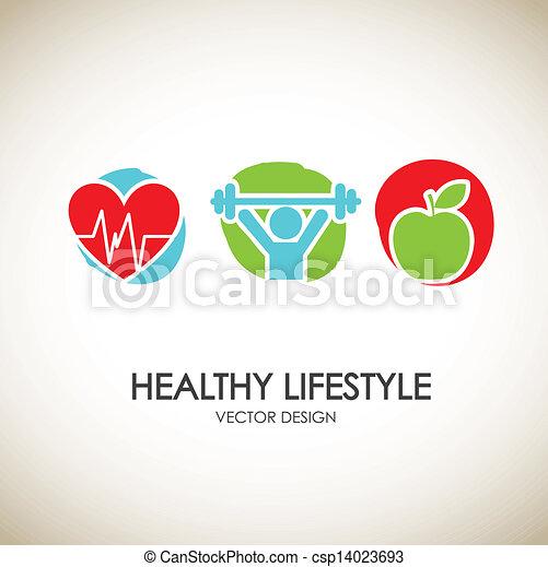 Healthy lifestyle icons - csp14023693