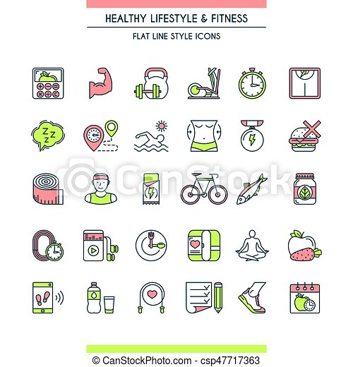 Healthy lifestyle icons set - csp47717363