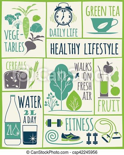 Healthy lifestyle Icons set - csp42245956