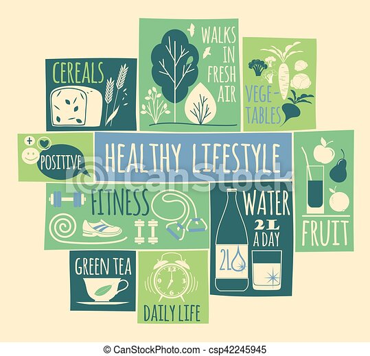 Healthy lifestyle Icons set - csp42245945