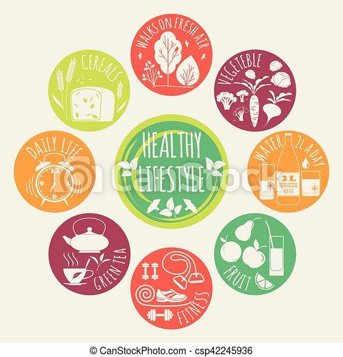 Healthy lifestyle Icons set - csp42245936
