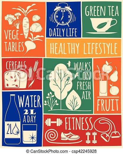 Healthy lifestyle Icons set - csp42245928