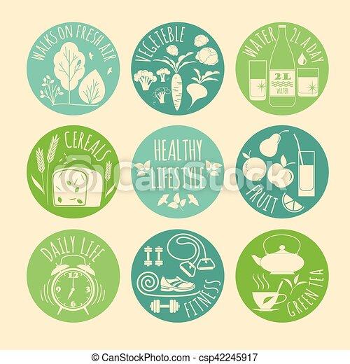 Healthy lifestyle Icons set - csp42245917