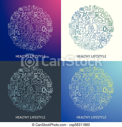 Healthy lifestyle outline concept5 - csp58311860