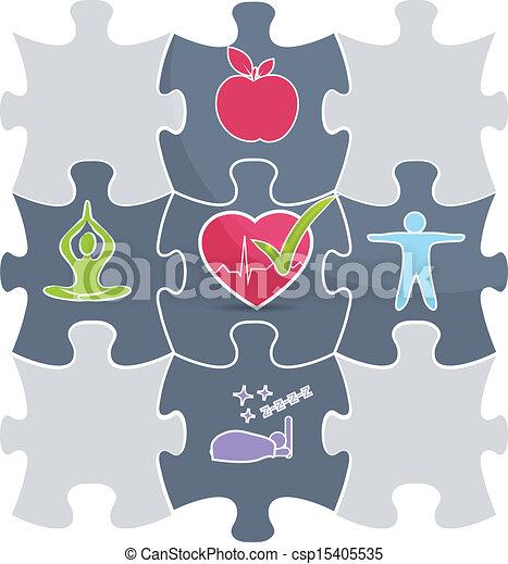 Healthy lifestyle puzzle - csp15405535