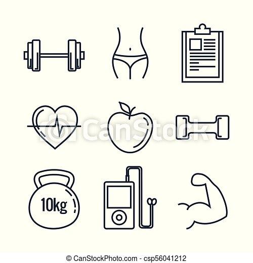 healthy lifestyle set icons - csp56041212