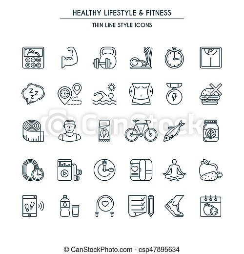 Healthy lifestyle thin line icons - csp47895634