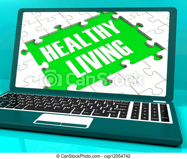 Healthy Living On Laptop Shows Wellbeing - csp12054742