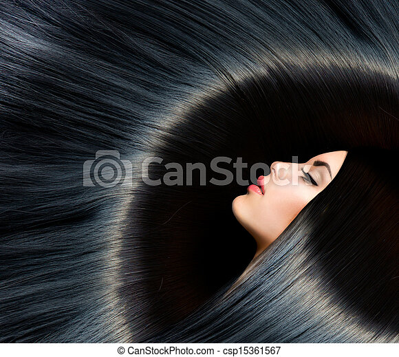 Healthy Long Black Hair. Beauty Brunette Woman  - csp15361567