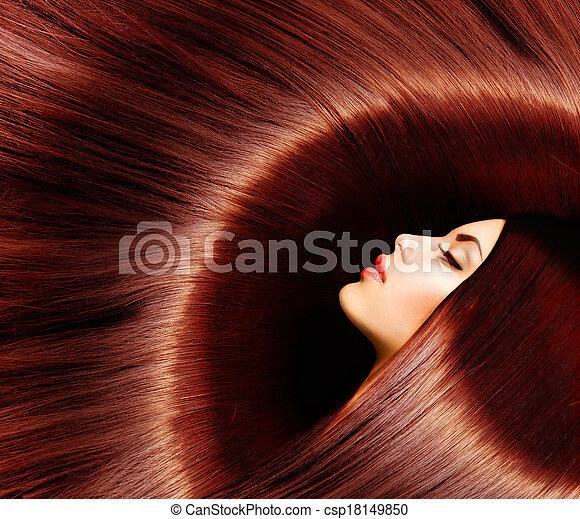 Healthy Long Brown Hair. Beauty Brunette Woman - csp18149850