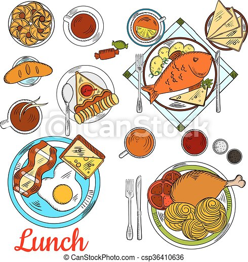 healthy lunch icon with main dishes and desserts healthy
