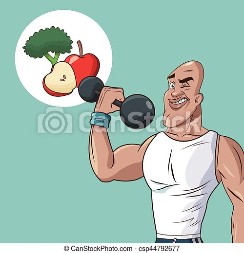 Healthy Man Athletic Weight Food Diet Vector Illustration Eps 10