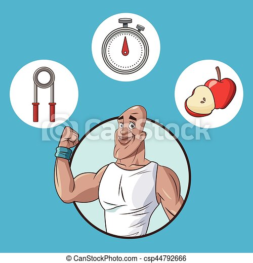 Healthy Man Food Equipment Sport Vector Illustration Eps 10