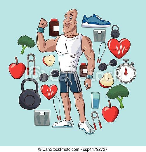 Healthy Man Sport Food Concept Elements Vector Illustration Eps 10