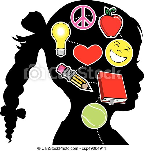 healthy mind girl vector illustration of a young girl with rh canstockphoto com mind clipart black and white mind clipart gif