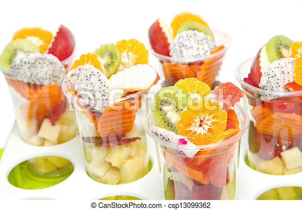 Healthy mix fruit in glass for healthy juice on white background - csp13099362