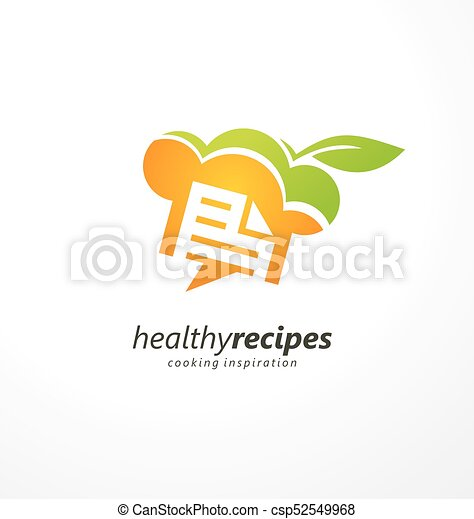 Healthy recipes cooking inspiration creative logo design - csp52549968