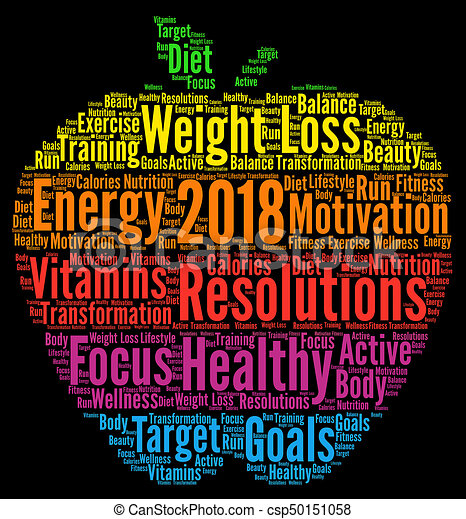 Healthy resolutions 2018 word cloud - csp50151058